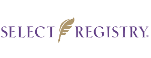 Select Registry sign with a golden feather between the words written in purple.