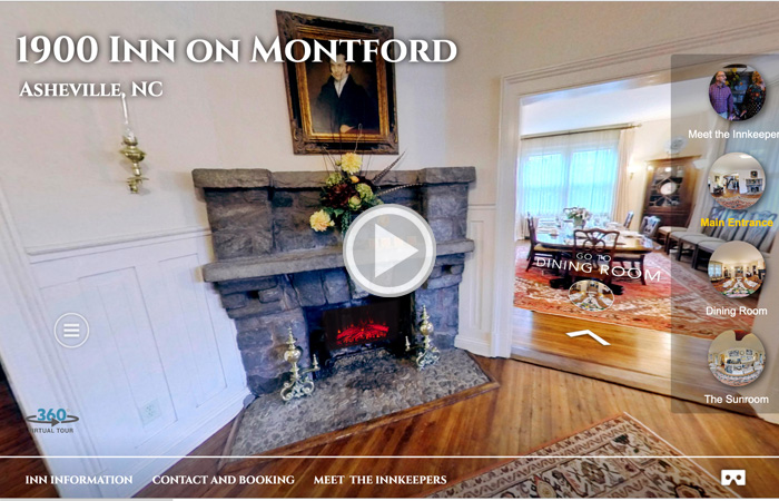 A video touring the guests through the property of Inn on Montford, the bed and breakfast in Asheville NC.