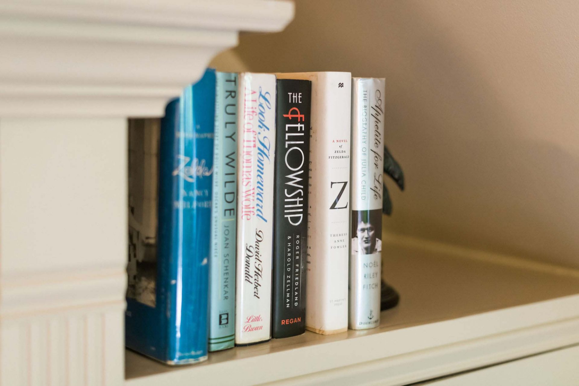 A close-up of six books on a bookshelf in one of the rooms at Inn on Montford, the Asheville bed and breakfast.