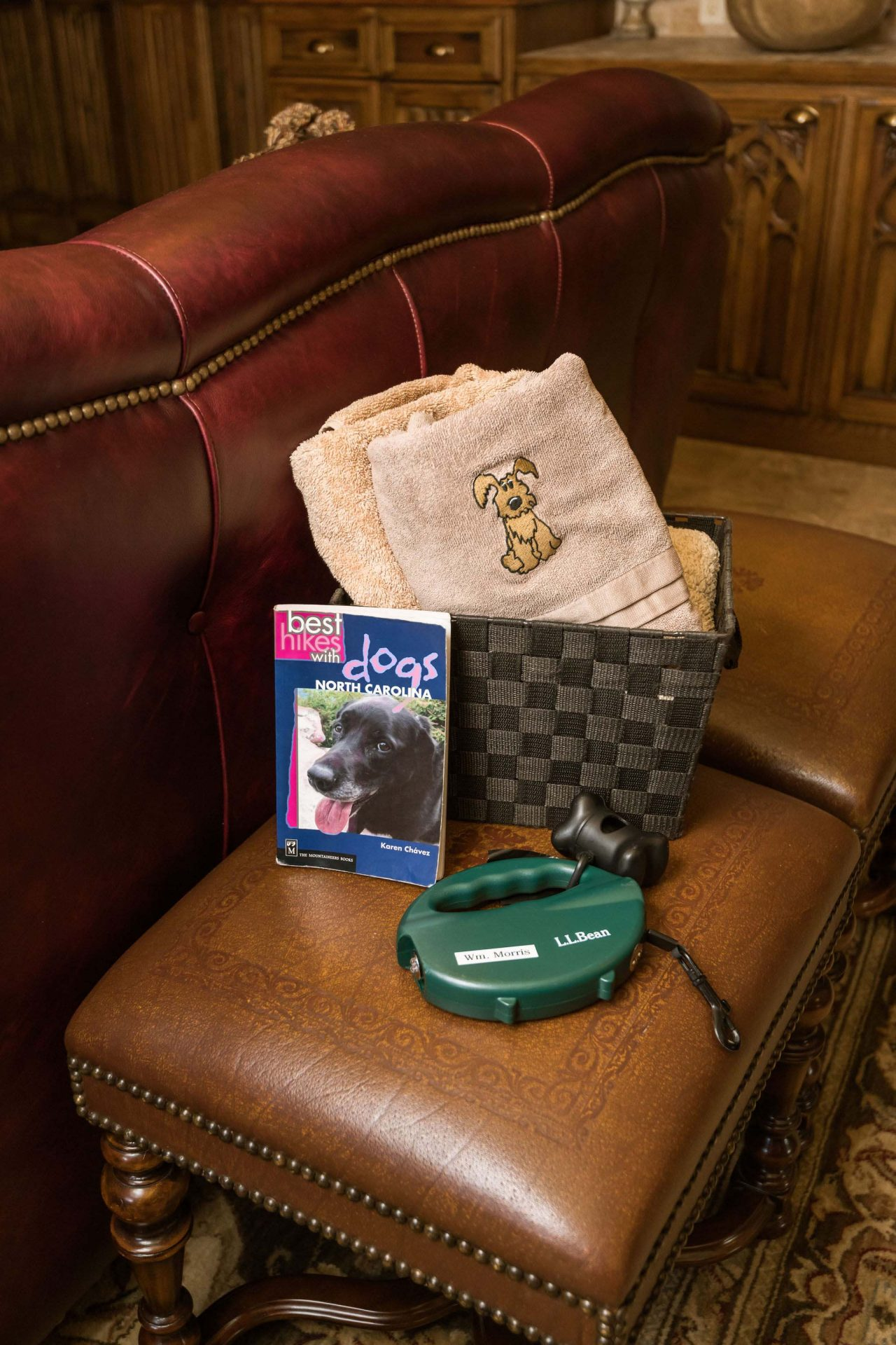 A box with dog-towels, leash, dog toy, and a book with Asheville's dog-friendly hikes