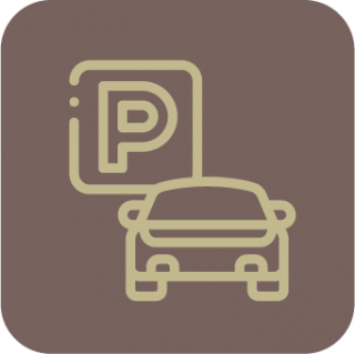 A light brown icon with an outline of a car and a parking sign.
