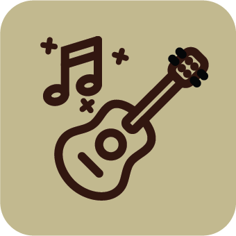 A light brown icon with an outline of a guitar and notes.