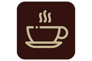 Brown icon with a steaming cup of coffee outline