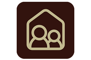 Brown icon with an outline of a home and two people