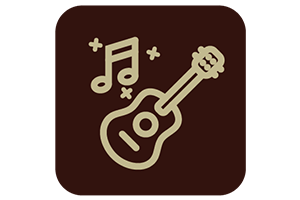 Brown icon with guitar and music notes outline