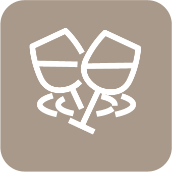 A light brown icon with an outline of two wine glass tossing.